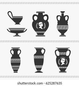 Greek Vase Set Vector Illustration