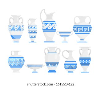 Greek vases blue and white flat vector illustrations set. Ceramic antique amphora with patterns collection. Ancient Greece pots and bowls. Kitchenware with ornament isolated design elements pack.