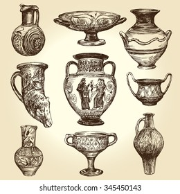 Greek vases, hand drawn collection