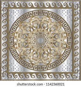 Greek vector 3d panel pattern. Baroque floral mandala. Geometric silver dotted background with half tone and drapery effect. Vintage ornament with greek key, meanders. Floral design. Square frame.