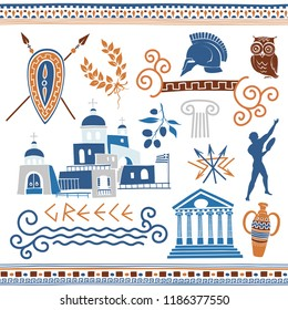 Greek Vector Clipart. Set of Illustrations on Ancient Symbols, Themes and Ornaments