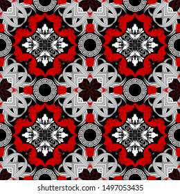 Greek vector seamless pattern. Intricate floral background in black red white colors. Striped line art tracery vintage flowers, leaves, geometric shapes. Baroque Victorian style creative ornaments.