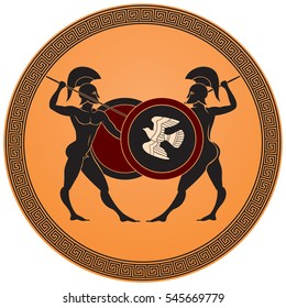 Greek warriors battle, warriors armed with spears, shields and helmets, Ancient Greece black figure vase painting style vector illustration