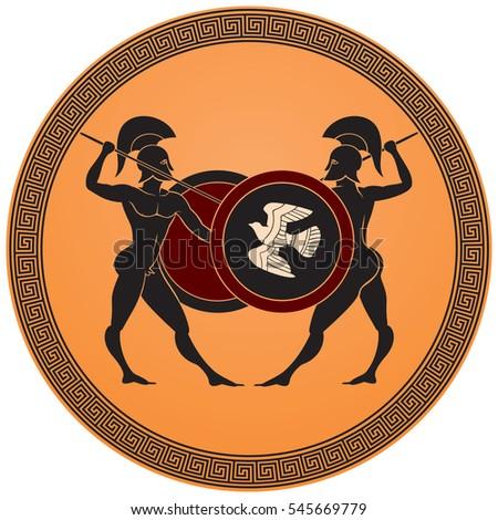 Greek Warriors Battle Warriors Armed Spears Stock Vector Royalty