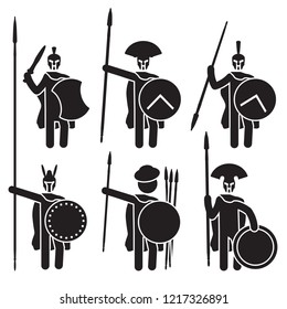Greek warriors icon set. Spartans, Macedonian phalanx and others. Vector.