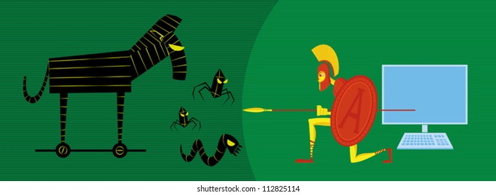 Greek-style defend computer of different viruses attack (trojan, worm).