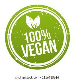 Green 100% Vegan Badge Button. Eps10 Vector.