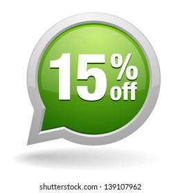 Green 15 percent off speech bubble