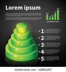 Green 3d cone chart with some infographic elements. Useful for presentations and advertising.