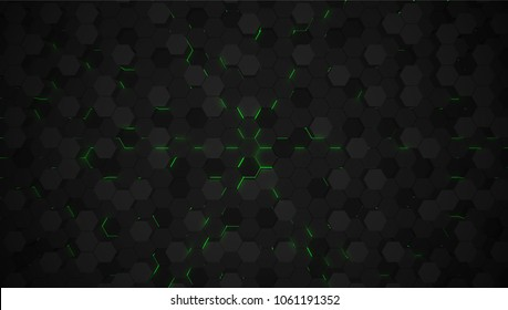 Green 3D hexagon tech background, vector illustration