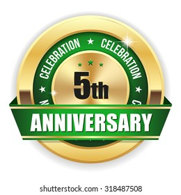 Green 5th anniversary badge with gold border and ribbon on white background