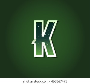 Green 80's Retro Sci-Fi Font with Stars Inside Letters. Alphabet Vector
