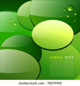 Green abstract background, circular leaves with dew, vector.
