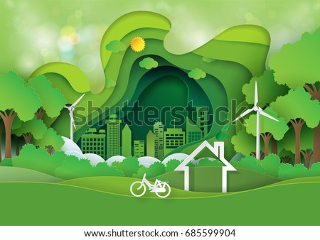 green abstract background design template paper art stock vector