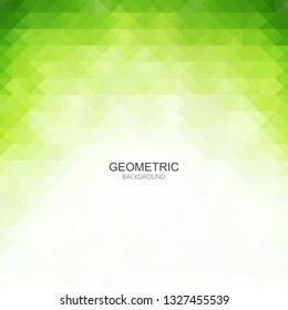 Green abstract background of geometric triangles