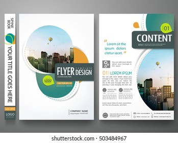 Green abstract circle cover book portfolio presentation poster. Brochure design template vector. City concept in A4 layout. Flyers report business magazine .