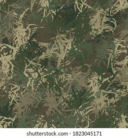 Green abstract grass seamless background of randomly interwoven bands and wavy lines. Grunge ghillie green, olive and brown colored digital camo background