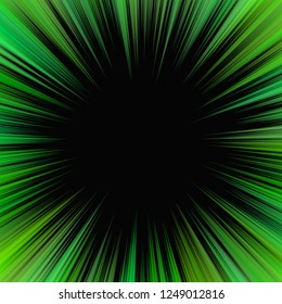 Green abstract hypnotic ray burst background - vector explosive design