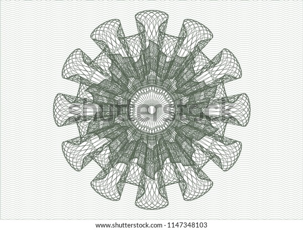 Green abstract linear rosette
