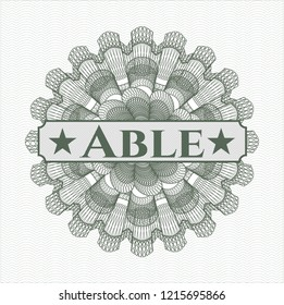 Green abstract linear rosette with text Able inside
