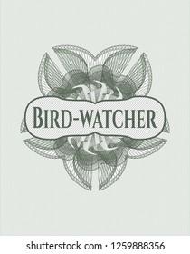 Green abstract linear rosette with text Bird-watcher inside