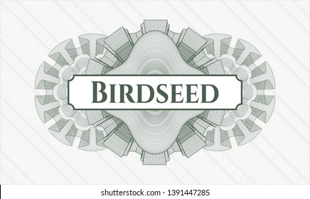Green abstract linear rosette with text Birdseed inside
