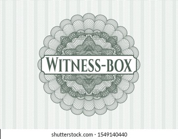 Green abstract linear rosette with text Witness-box inside