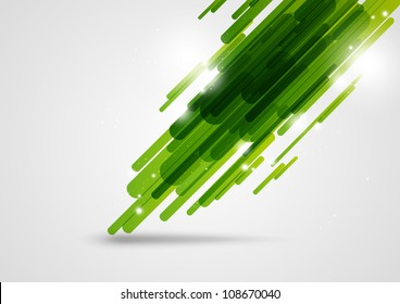 Green abstract lines background with light elements
