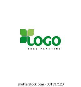Green abstract logo. Fresh leaves symbolizing life. Natural product vector illustration.