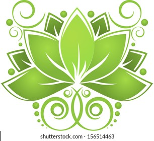 Green abstract lotus on white background. eps10