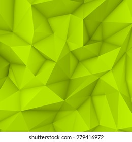 Green abstract low-poly, polygonal triangular mosaic background for web, presentations and prints. Vector illustration. Realistic 3D design template.