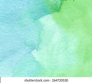 Green abstract macro watercolor hand drawn paper texture. Wet brush painted smudges and stains background. Artistic nature oil background. Decorative design card for banner, print, decor, template