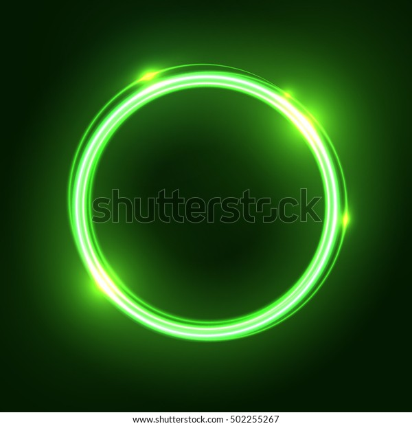 Green Abstract Neon Round Shape Glowing Stock Vector