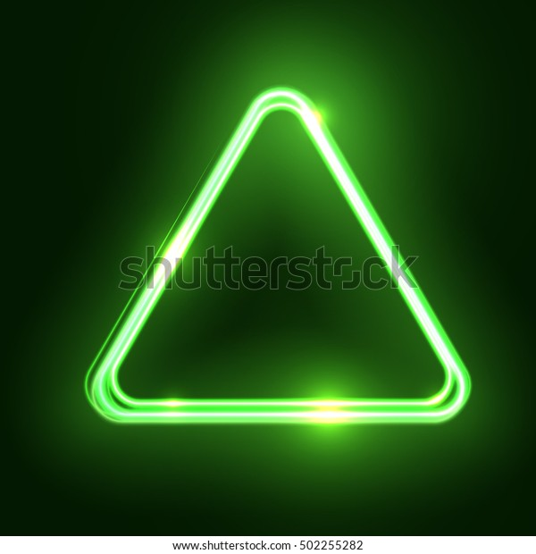 Green Abstract Neon Triangle Shape Glowing Stock Vector