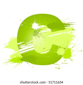 Green abstract paint splashes font. Letter C. Vector on white background.