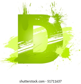 Green abstract paint splashes font. Letter D. Vector on white background.