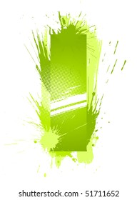 Green abstract paint splashes font. Letter I. Vector on white background.