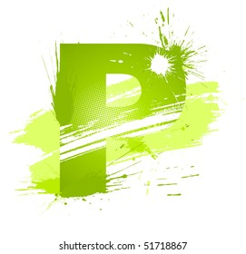 Green abstract paint splashes font. Letter P. Vector on white background.