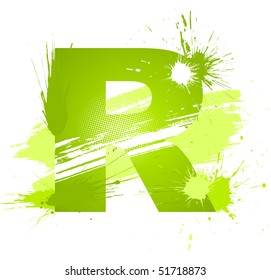 Green abstract paint splashes font. Letter R. Vector on white background.