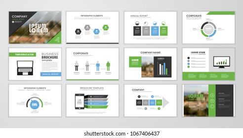 Green abstract presentation slide templates. Infographic elements template  set for web, print, annual report brochure, business flyer leaflet marketing and advertising template. Vector Illustration