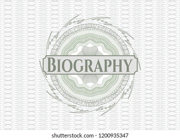 Green abstract rosette with text Biography inside