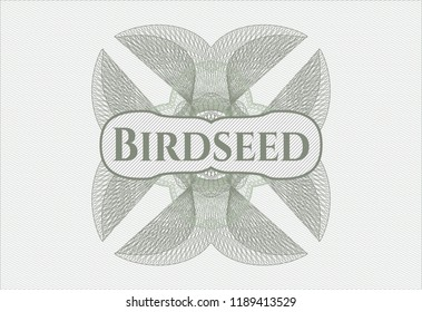 Green abstract rosette with text Birdseed inside