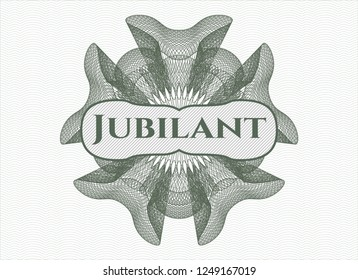 Green abstract rosette with text Jubilant inside