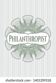 Green abstract rosette with text Philanthropist inside
