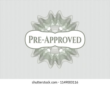 Green abstract rosette with text Pre-Approved inside