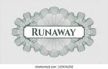 Green abstract rosette with text Runaway inside