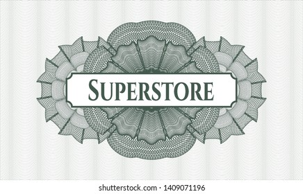 Green abstract rosette with text Superstore inside