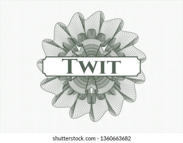 Green abstract rosette with text Twit inside