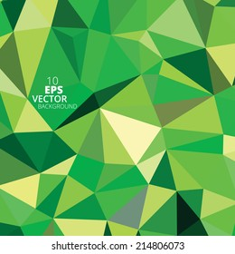 Green abstract triangle background, vector illustration eps10