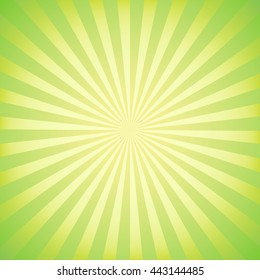 Green abstract vector background with rays.